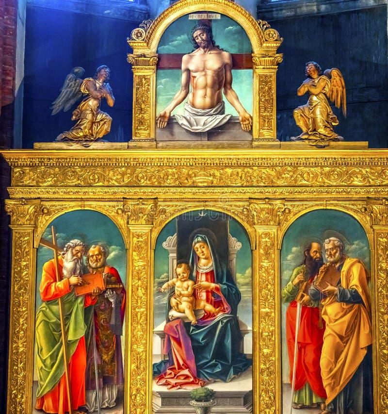 Vivarini Madonna som målar Santa Maria Frari Venice Italy arkivbilder