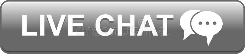 Vive el gris del botón del web del icono de la charla stock de ilustración