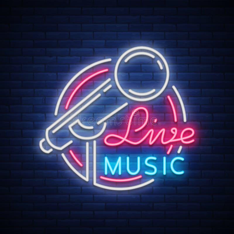 Vive el logotipo de neón del vector musical, muestra, emblema, cartel del símbolo con el micrófono Cartel brillante de la bandera ilustración del vector