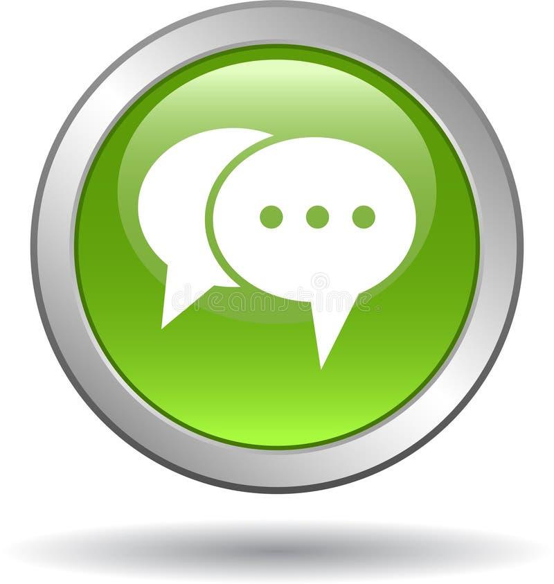 Vive o verde do botão da Web do ícone do bate-papo ilustração do vetor