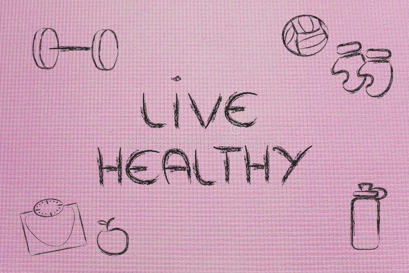 Vive uma vida saudável e apta ilustração royalty free