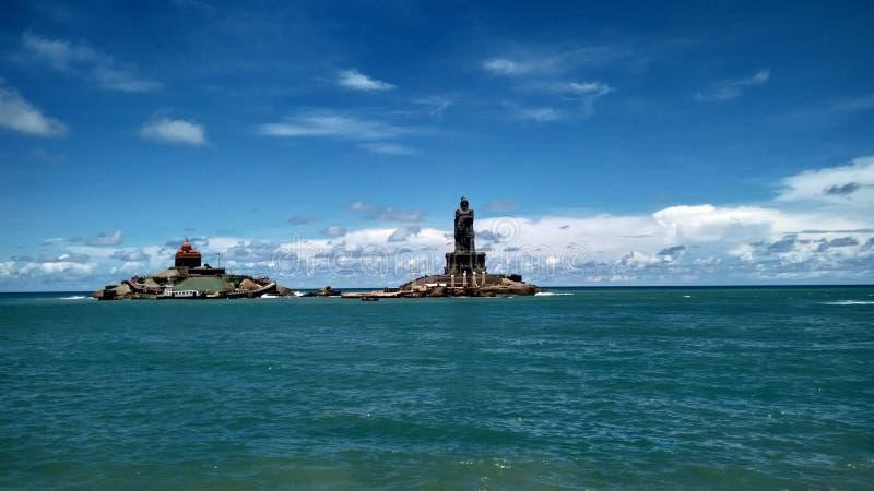 Vivekanadar夫人和Thiruvaluvar雕象 免版税库存图片