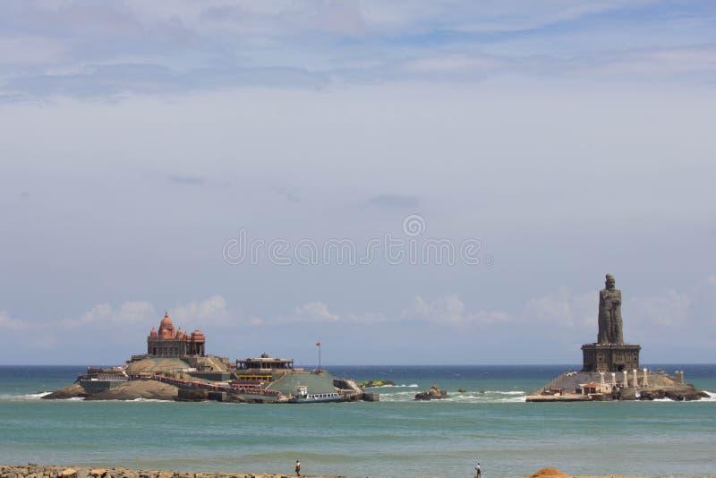 Vivekananda rock memorial and Thiruvalluvar statue at kanyakumari royalty free stock photography