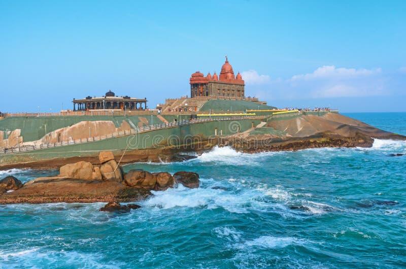 Vivekananda vaggar minnesmärken, Kanyakumari india arkivfoton