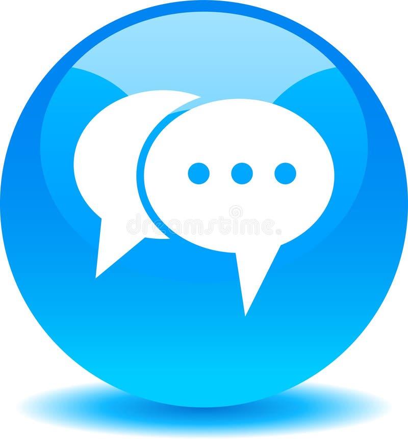 Vivent le bleu de bouton de Web d'icône de causerie illustration libre de droits