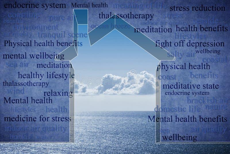 Viver perto da costa tem um efeito positivo em uns a saúde - o esboço pequeno da casa contra um mar calmo com as nuvens no fundo  foto de stock