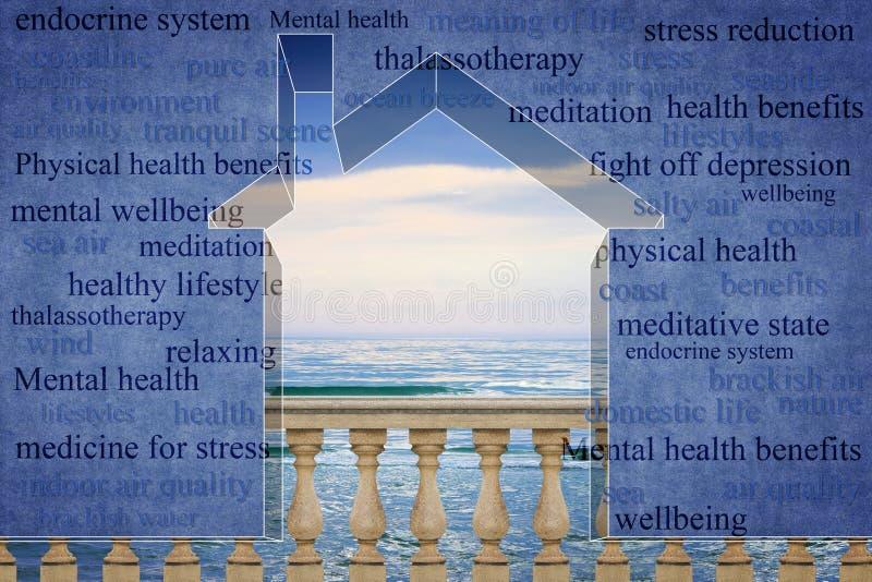 Viver perto da costa tem um efeito positivo na saúde dos one's - esboço pequeno da casa contra um mar calmo com as nuvens no fu ilustração royalty free