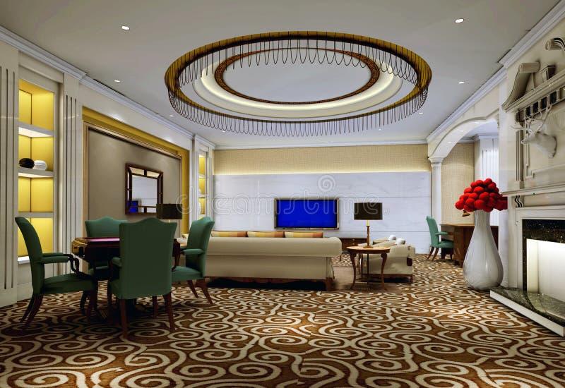 vivere dell'interiore 3 3d moderno rende la stanza royalty illustrazione gratis