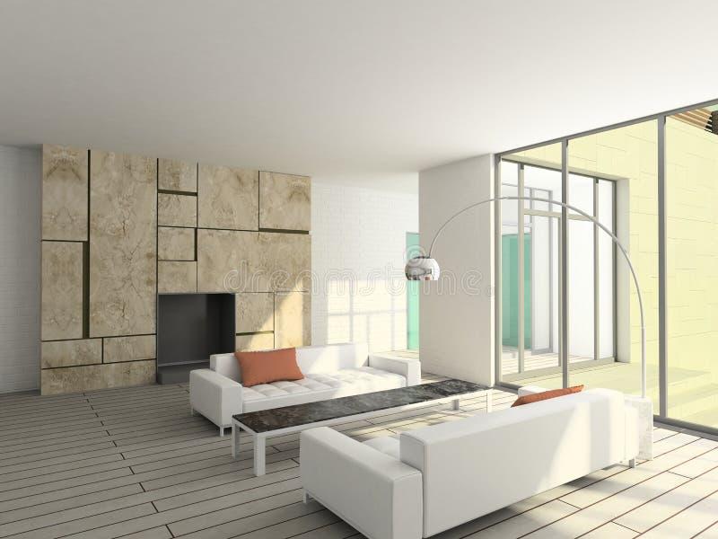 vivere dell'interiore 3d moderno rende la stanza fotografia stock libera da diritti