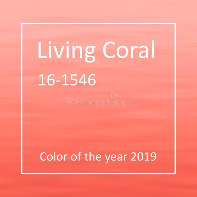 Vivere di corallo - colore dei precedenti minimi di Wave di anno 2019 illustrazione di stock