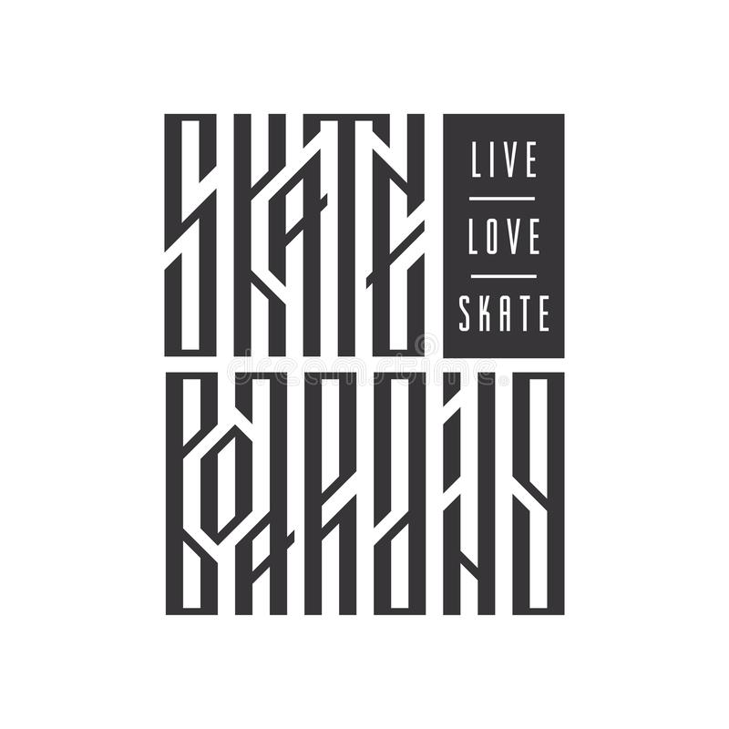 Vivez, aimez, patinez typographie stylisée ethnique Lettrage slavic authentique faisant de la planche à roulettes de vecteur illustration de vecteur