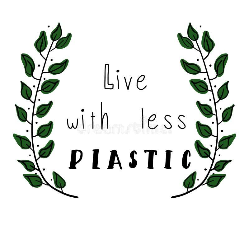Vivez avec du moins du plastique illustration libre de droits