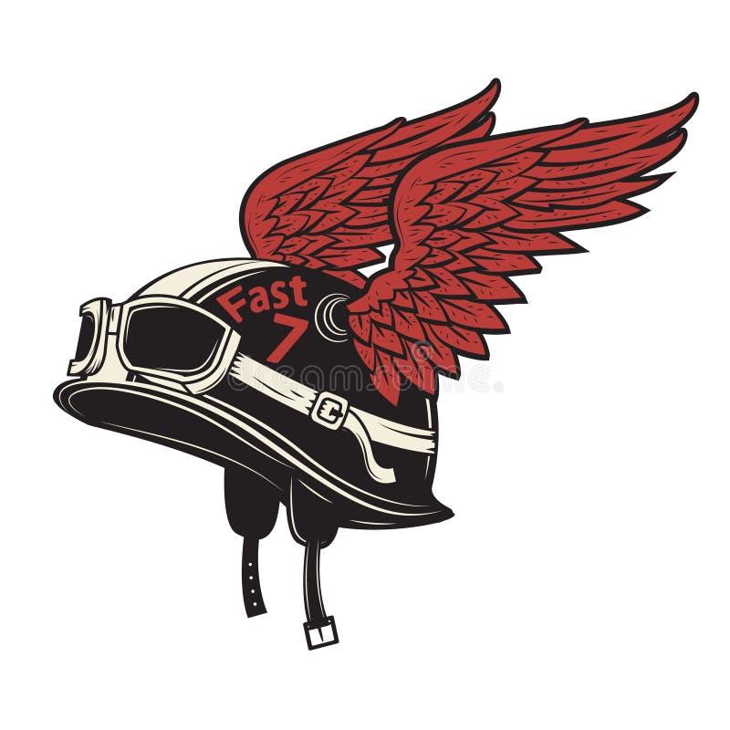 Vivez pour monter Casque de moto avec des ailes sur le fond blanc illustration de vecteur