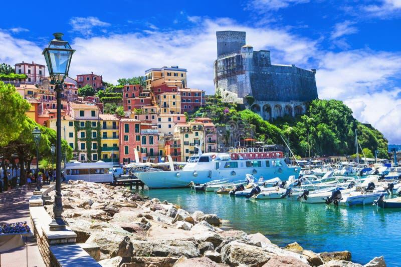 Vivid beautiful town Lerici in Liguria, Italy. Scenic towns of Italy, Lerici in Liguria stock image