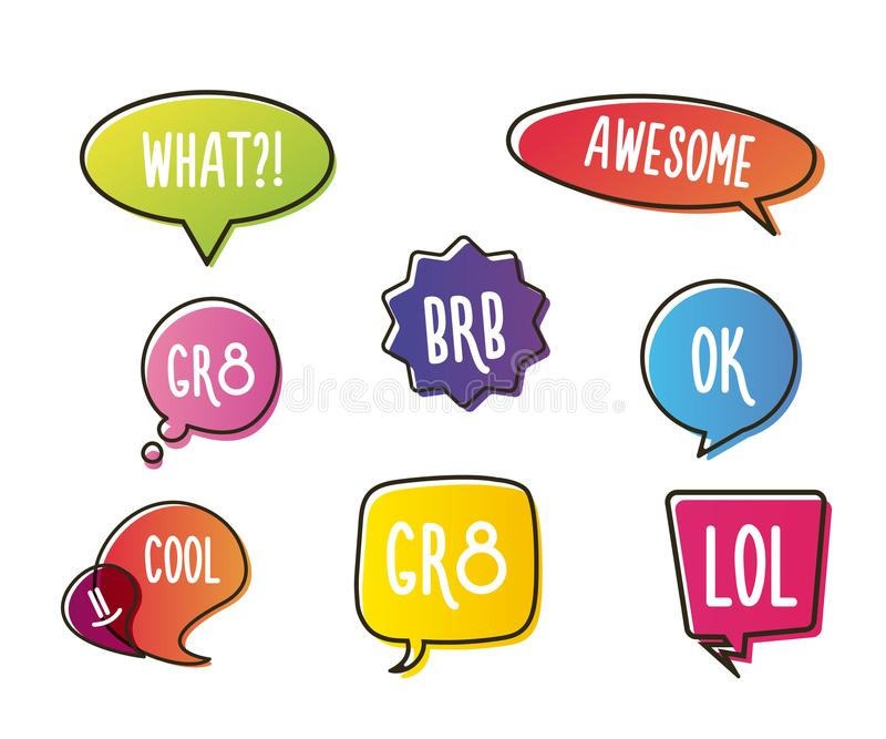 Vivid color speech bubbles set with short messages. Talking and communication vector illustrations. royalty free illustration