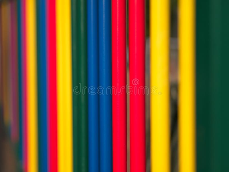 Soft focus Vivid and Colorful Bars. Concept of school. Vivid and colorful metallic bars. Concept of school, fun, juvenile, playful and happiness. Soft focus royalty free stock photos