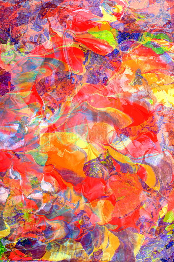 Vivid Colors Composing. Composing of two abstract paintings give as a result a swirling, moving composition of colors, sujitable for many purposes. Much room for royalty free illustration