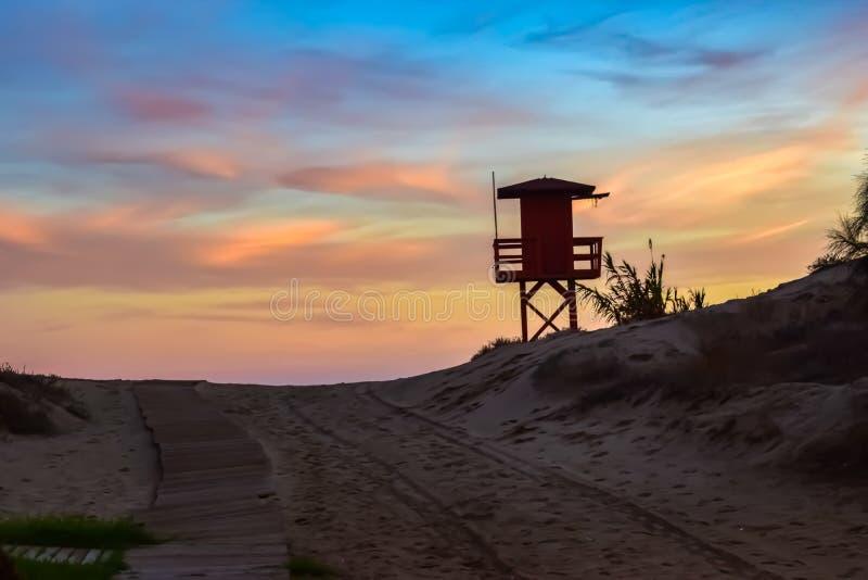 Sunset at Isla Canela, Spain stock images