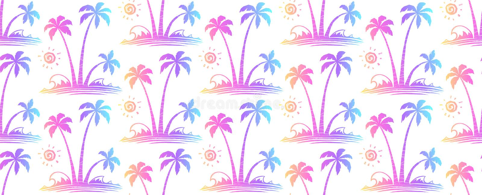 Vivid colors hand drawn tropical palm trees vintage vector seamless pattern.  stock illustration