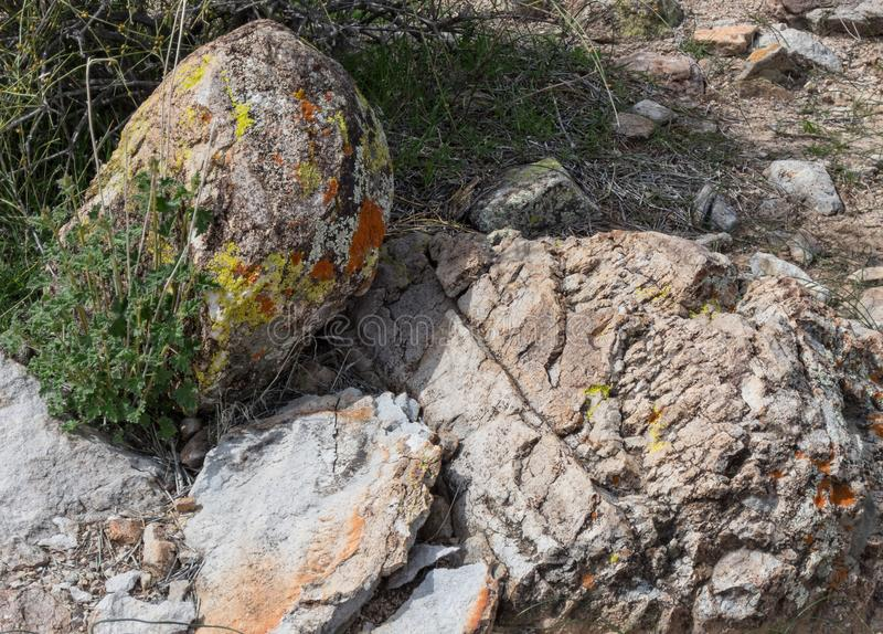 Vivid colors in rocks, Arizona. Arizona desert rocks, geologic deposits cause vivid colors stock photos