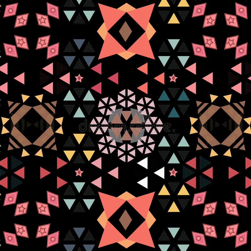 Vivid decorated geometric seamless pattern of triangles, hexagons and diamonds over black background vector illustration
