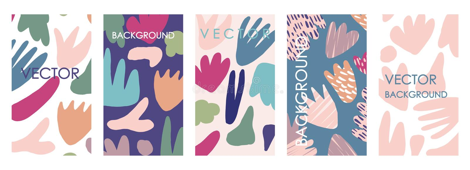 Vivid floral invitations and card template design. Abstract freehand vector set royalty free illustration