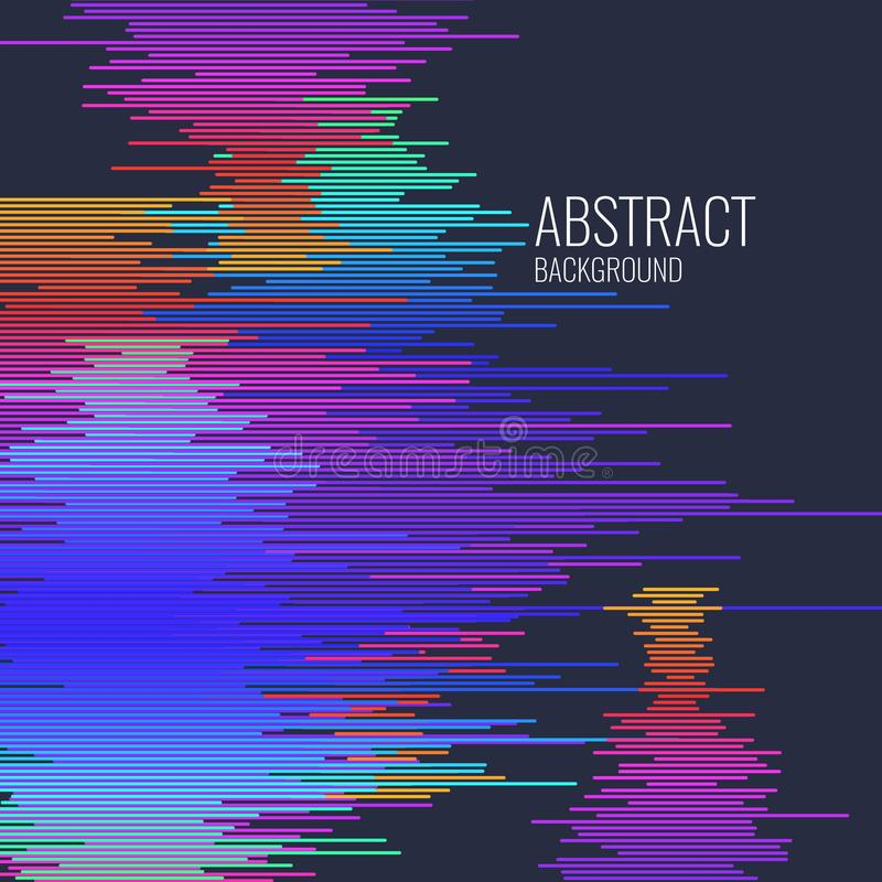 Vivid illustration with elements of glitch. Colored stripes on dark background. vector illustration