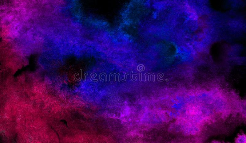 Vivid ink textured blue, pink and purple color canvas for modern design. Aquarelle smeared abstract watercolour illustration. Vivid ink textured blue, pink and stock image
