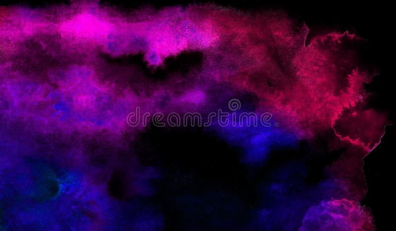 Vivid ink textured blue, pink and purple color canvas for modern design. Aquarelle smeared abstract watercolour illustration. Vivid ink textured blue, pink and royalty free stock photo