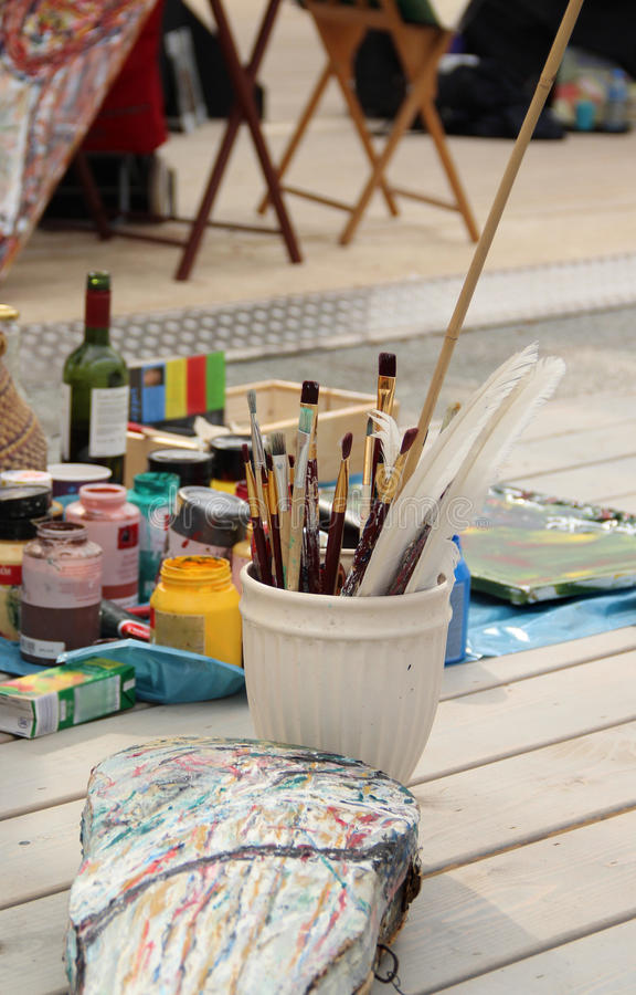 Vivid Paintbrushes At The Atelier Stock Photos