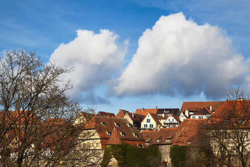 Vivid Sky Over Rothenburg Royalty Free Stock Photography
