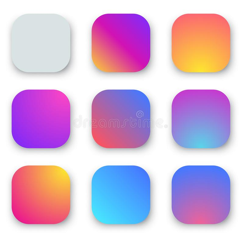 Vivid Smooth Gradient Rounded Buttons vector illustration