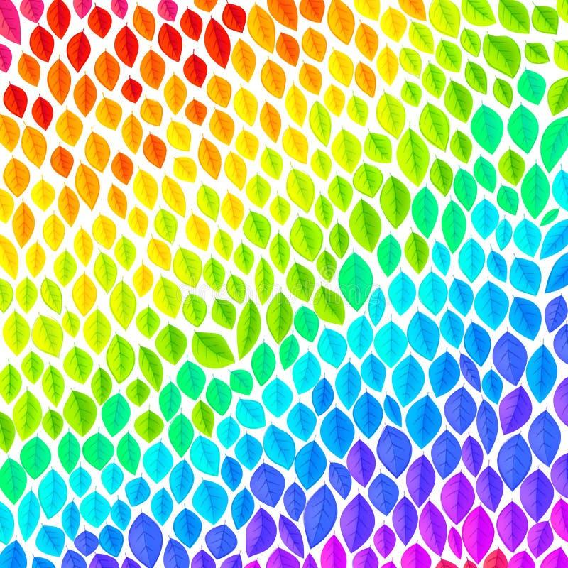 Vivid spectrum colors vector leaves rainbow background royalty free illustration