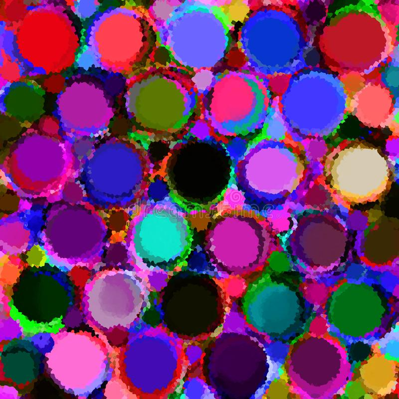 Vivid stain glass mosaic dackground with row of colorfull grunge circles and rings royalty free illustration