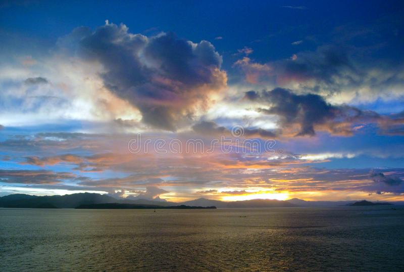 Vivid Sunrise at Sea inside Panama Canal royalty free stock photo