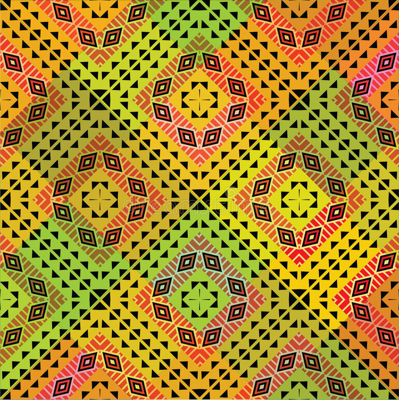 Vivid tribal pattern stock illustration