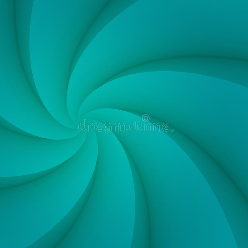 Vivid turquoise blue spinning spiral curves abstract background illustration vector illustration