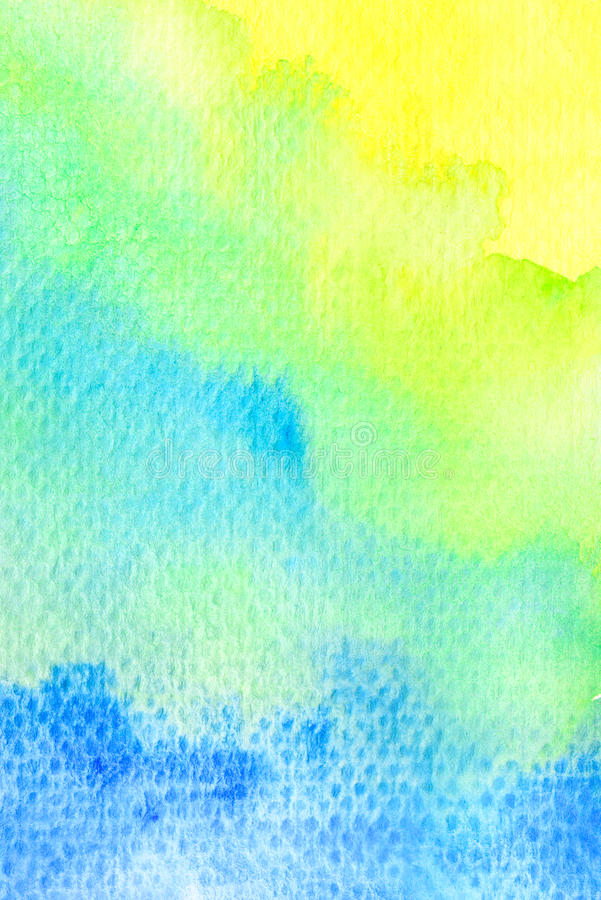 Vivid yellow green blue watercolor background. Texture royalty free illustration