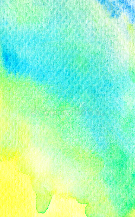 Vivid yellow green blue watercolor background. Texture vector illustration
