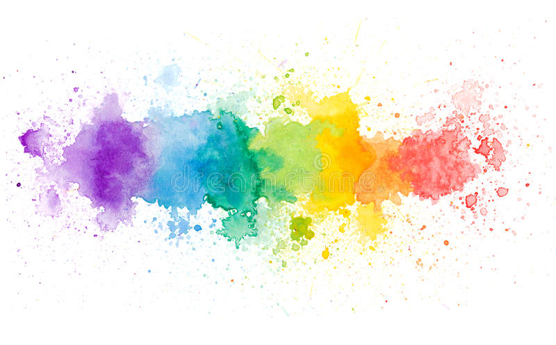 Vivid yellow orange red blue green violet watercolor background. Texture vector illustration