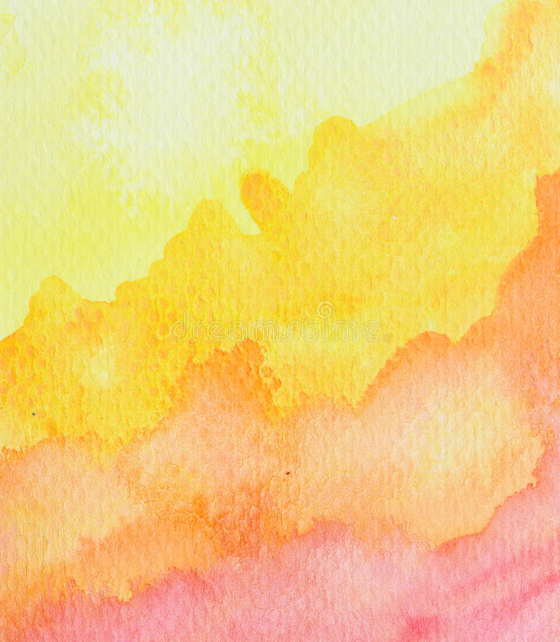 Vivid yellow orange red watercolor background. Texture royalty free illustration