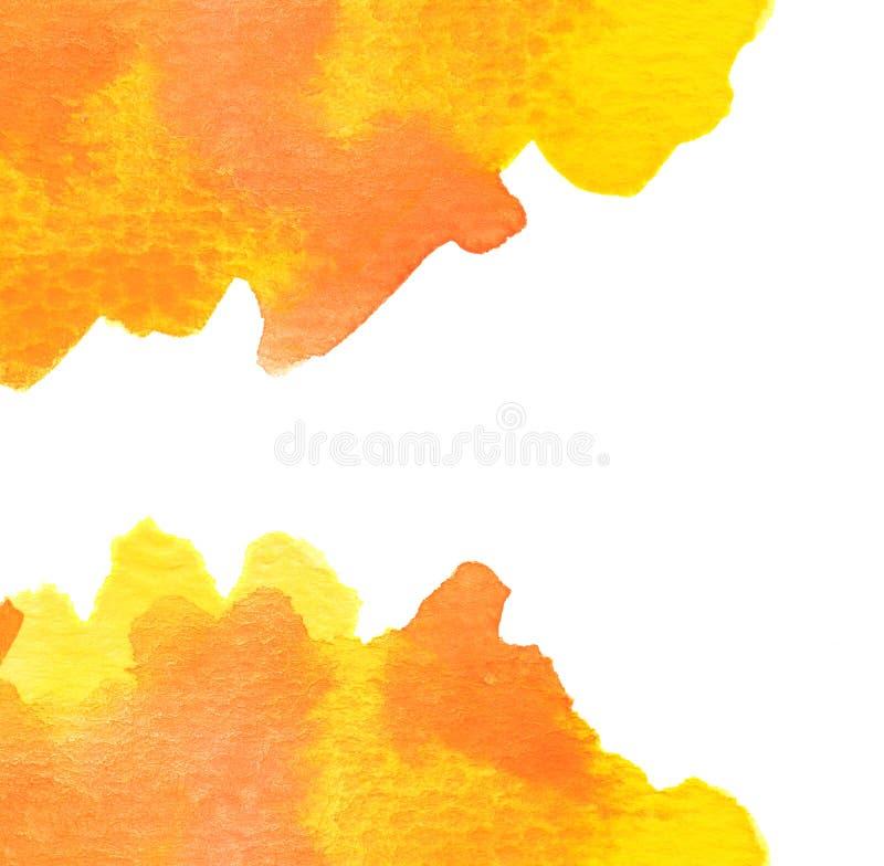 Vivid yellow orange red watercolor background. Texture stock illustration