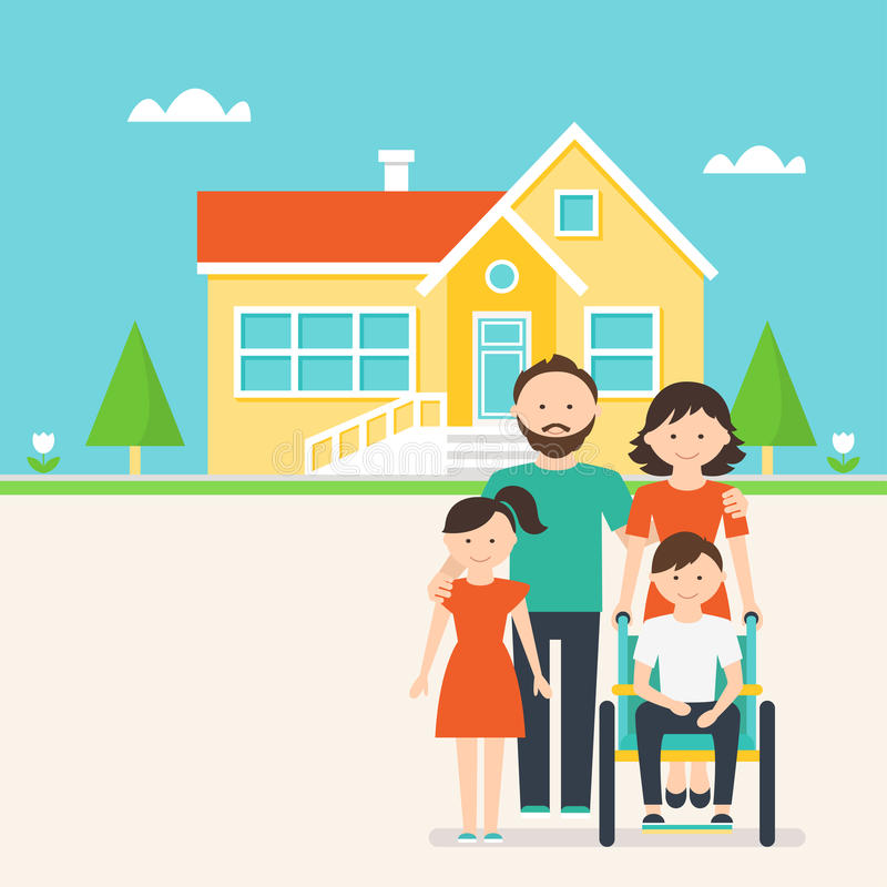 Vivienda accesible para la gente con necesidades especiales ilustración del vector