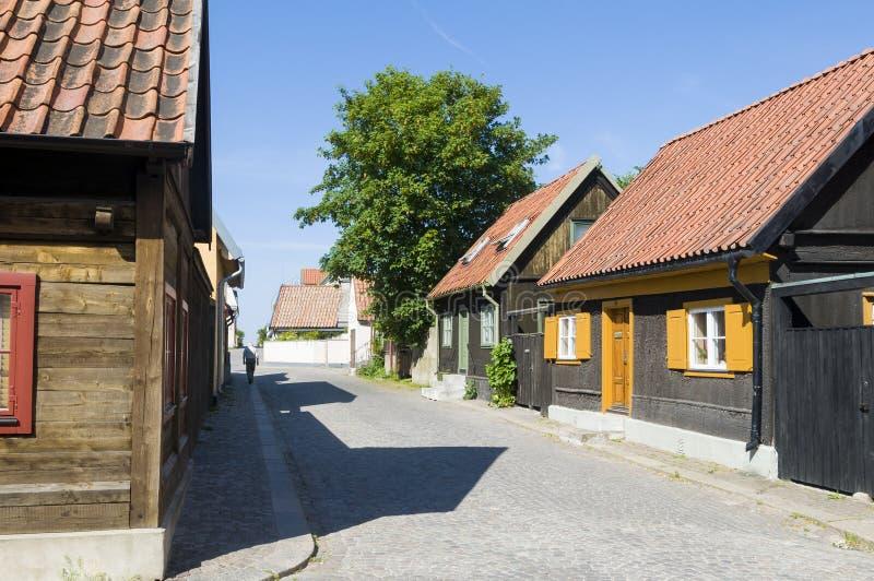 Residentual Visby de vivienda Suecia imagen de archivo