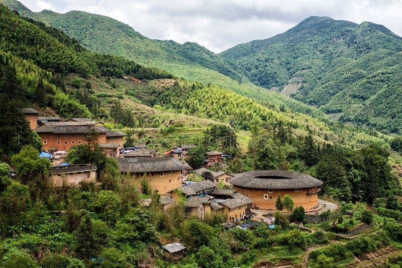 Vivienda del chino tradicional de Tulou del Hakka en la provincia de Fujian del Ch fotos de archivo