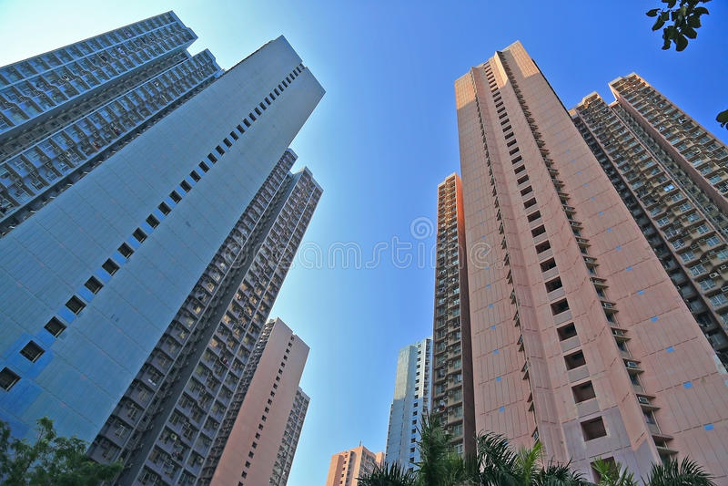 Vivienda y edificio apretados de Hong Kong imágenes de archivo libres de regalías