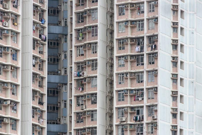 Vivienda y edificio apretados de Hong Kong imagen de archivo libre de regalías