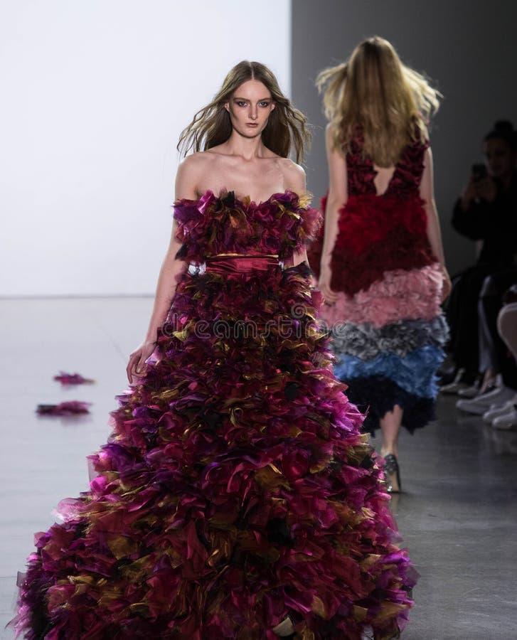 Vivienne Hu Fall/Winter Collection during New York Fashion Week. Model walks runway on Vivienne Hu show at 50 Varick Street, Manhattan during New York Fashion royalty free stock photography