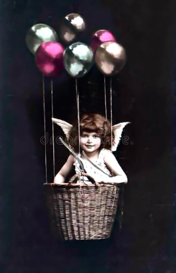 Vivintage Girl In Basket With Balloonsntage Girl In Basket With Balloons Edited Free Public Domain Cc0 Image