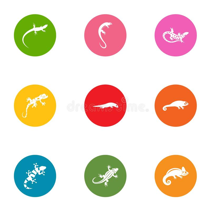 Viviparous lizard icons set, flat style vector illustration
